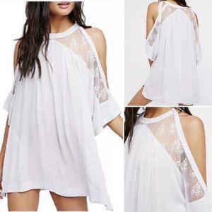 Free People Lilac Lace Cold Shoulder Tunic